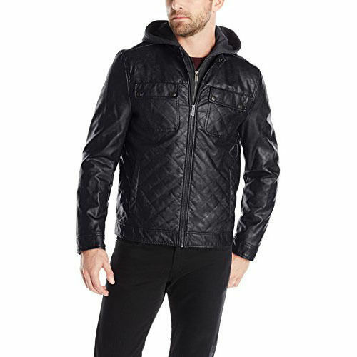 Kenneth Cole Reaction Quilted Faux Leather Moto Jacket W Hood