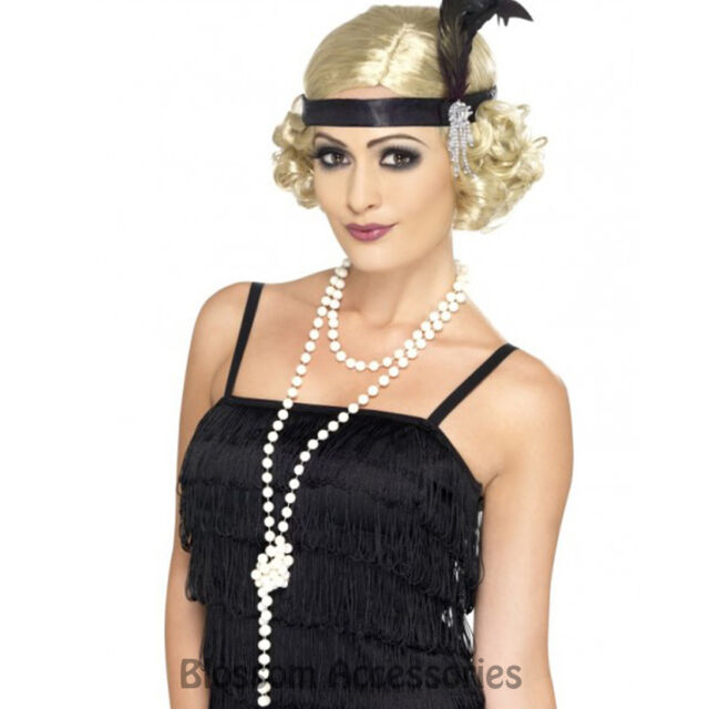 A454 Ladies 1920s Flapper 180cm Faux Pearl Necklace 80s 20s Costume Accessory