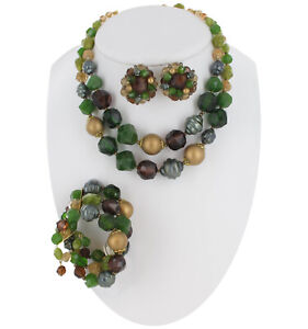 West-Germany-Clip-On-Earrings-Bracelet-Necklace-Jewelry-Set-Green-50S-Vintage