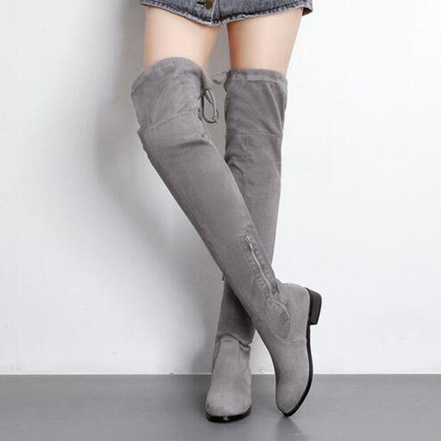 stiefel grau up knie schenkel absatz 3 cm komfortabel simil leder 9429