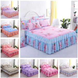 Lace-Bedspread-Dust-Ruffle-Bed-Skirt-Pillowcase-Bedding-Set-Full-Queen-King-Size
