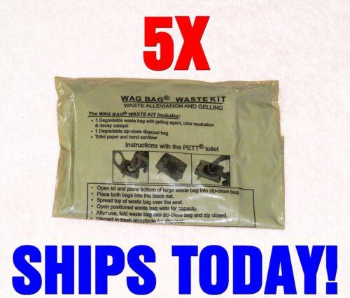 5 USGI Military Surplus WAG bags Environmental Solid Waste Disposal Ice Fishing