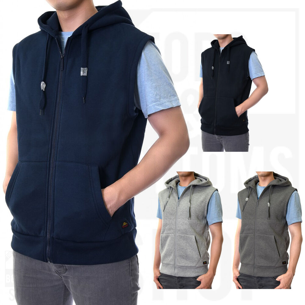 Knocker Mens Zip-Up Zipper Hooded hoodie Vest Sleeveless Sweater ...