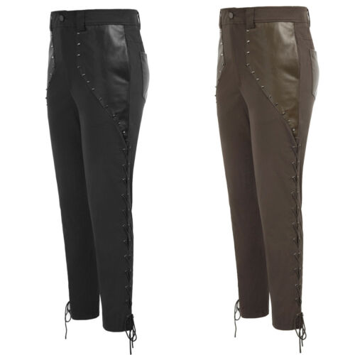 Gothic Slim PU Leather Patchwork Pants Renaissance Medieval Rivet Punk Rave Men