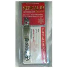 Medical Emergency Id Information Bracelet and Id Card Alert Stainless Steel