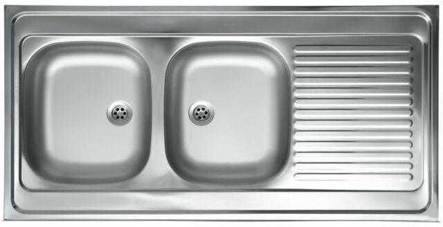 Edelstahl 2 Becken Küchenspüle Einbauspüle Küchen Spüle Spülbecken 120x60 cm S55