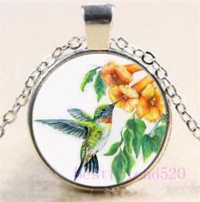Hummingbird Photo Cabochon Glass Silver//Black//Bronze Chain Pendant Necklace#31