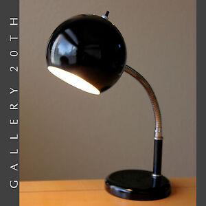 MID-CENTURY-MODERN-ROBERT-SONNEMAN-DESK-LAMP-ATOMIC-VTG-GOOSENECK-BLACK-60S-50S
