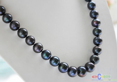 """P4391 Huge 24/"""" 15mm ROUND BLACK Freshwater cultured PEARL NECKLACE"""