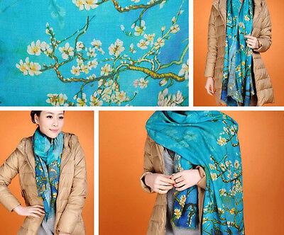 "women 100% wool scarf 71x24"" Ladies Shawl Wrap soft pashmina Floral blue W3924"