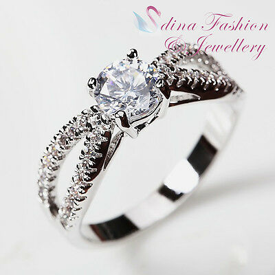 18K White Gold Plated Simulated Diamonds Double Twist Contour Band Wedding Ring