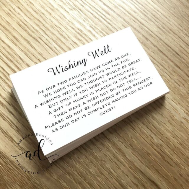 50 x Wishing Well Cards - Printed And Cut - Wedding Invitations - DIY White