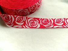 Gurtband Gurt Taschenhenkel Henkel  pink mit weißen Rosen 30 mm