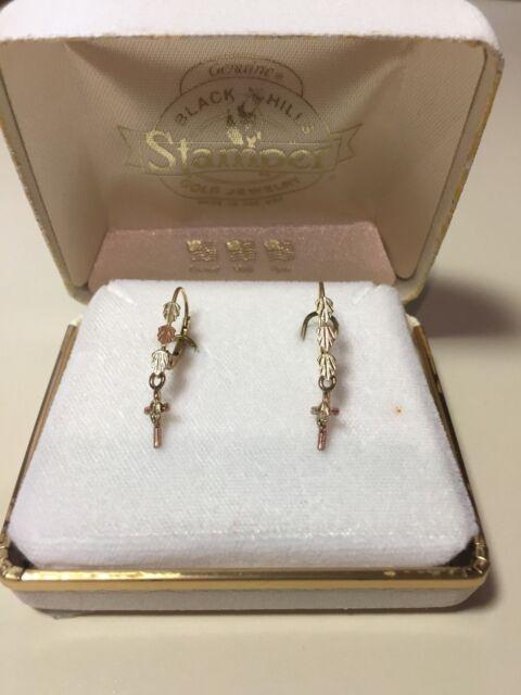 10k Tri Color Dangle Earrings Gs Leaf Stamper Black Hills Gold Mib Hook