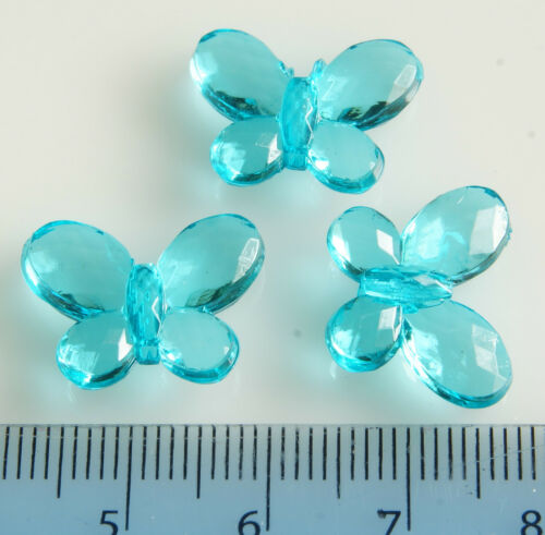 100x LARGE~BUTTERFLY~FACETED~TRANSPARENT~ACRYLIC BEADS~CHOOSE COLOUR,17 x 13 MM