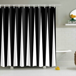 Image Is Loading Black And White Strip Printing Shower Curtain Polyester