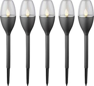Solar-Gartenleuchte-Fackel-5er-Set-LED-0-25-W-Amber-Polarlite-Schwarz