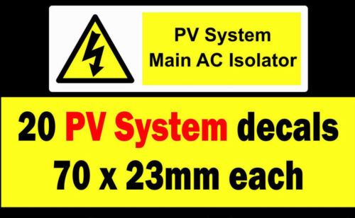 20 PV System Main AC isolator stickers Solar Warning Label decal high Voltage dc