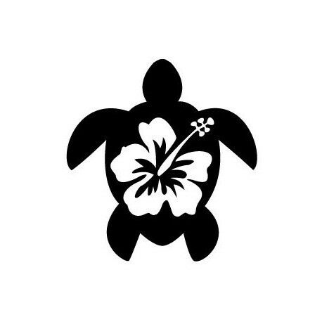 Tortue hibiscus autocollant stickers Taille:8 cm couleur : blanc
