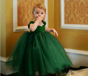 Flower Girl Princess Bow Dress Toddler Baby Wedding Party kids Dress 2-12 years