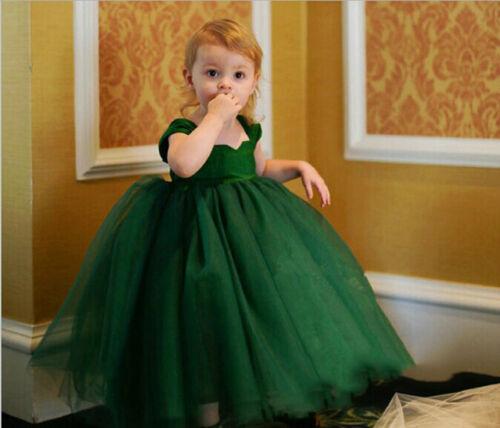 Flower Girl Princess Bow Dress Toddler Baby Wedding Party kids Dress 2-12 years