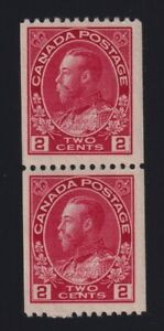 Canada-Sc-132-1915-24-2c-carmine-Admiral-COIL-PAIR-Mint-H-NH