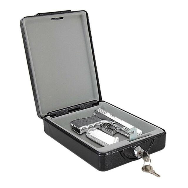 Compact Pistol Personal Firearm Key Lock Steel Vault Handgun Safe Box