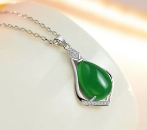5c39a2c6bbb173 Image is loading Rhodium-Plated-Sterling-Silver-Jade-Cubic-Zirconia-Teardrop -