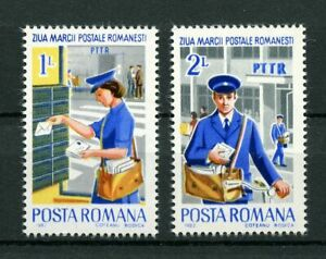 Letter Carrier Mailman Bicycle Stamp Day mnh 2 Stamps 1982 Romania #3092-3