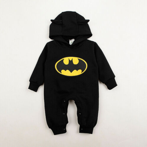 Newborn Baby Boy Girl Clothes Batman Hoodies Infant Romper Jumpsuit Clothes