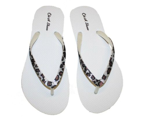 Womens Flip Flop With Soft Footbed  W// Glitter Straps Flops Assorted Colors-011