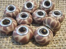 10 Fimo Clay Charm Beads Silver 13x10mm Animal Print Beige Brown Giraffe Spot