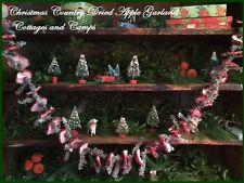 Primitive Country Christmas Garland Glitter Dried Apples Wood Cranberries Greens