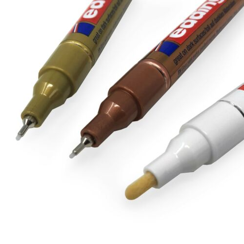 0.8-2 mm-blanc or et cuivre 3 X EDDING 751//780 Paint Marker stylos