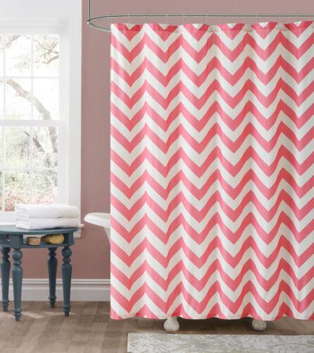 Declan Pink White Chevron Zig Zag Embossed Fabric Shower Curtain