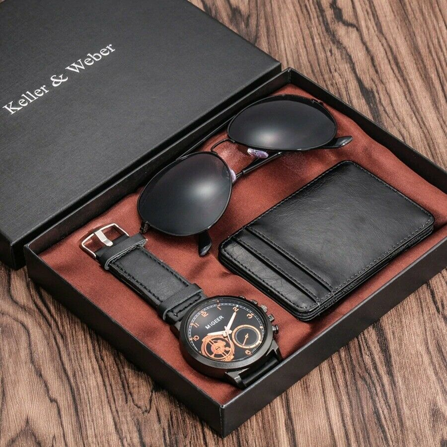 Gift Sets for Men Luxury Men Watches Credit Card Holder Wallets Sunglasses Gifts