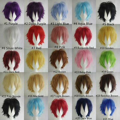 New Fashion Japanese Anime Short Straight Man Wig Cosplay Party Wig 11 Colors