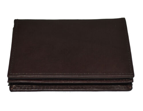 Genuine Leather Expandable Credit Card ID Business Card Holder Wallet Dark Brown