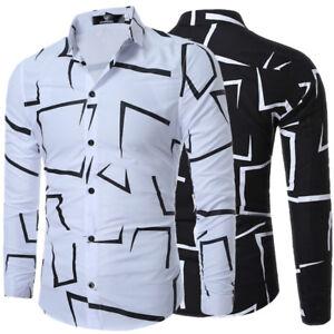 Men-039-s-Cotton-Casual-Shirts-Slim-Fit-Pattern-Dress-Shirts-Short-Sleeve-Dress-Tops