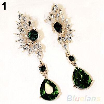 Ladies Wing Design Symmetry Crystal Rhinestone Dangle Ear Studs Drop Earrings