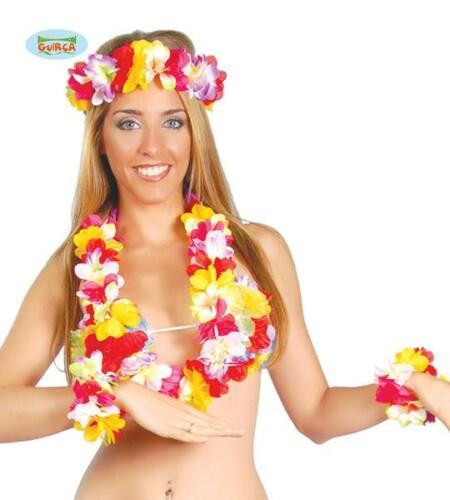 Set Hawaii Ghirlanda Collana Bracciali Carnevale Donna Hawaiana Festa Party