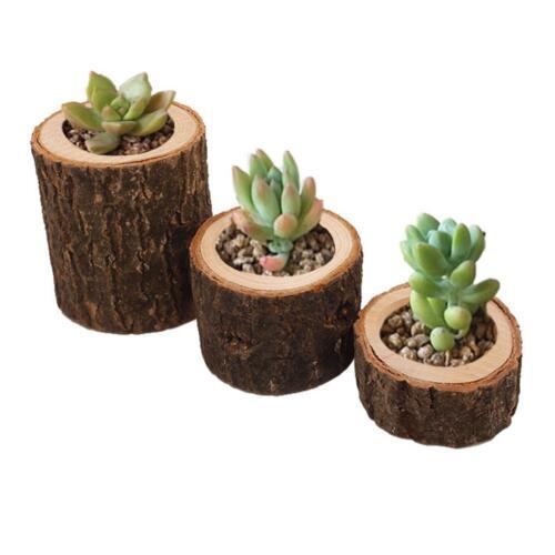 3x Baumstumpf Holz Kerzenhalter Teelichthalter für Hochzeitsdekoration
