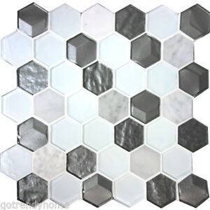 Image Is Loading Hexagon White Carrara Marble Stone Metallic Gray Gl
