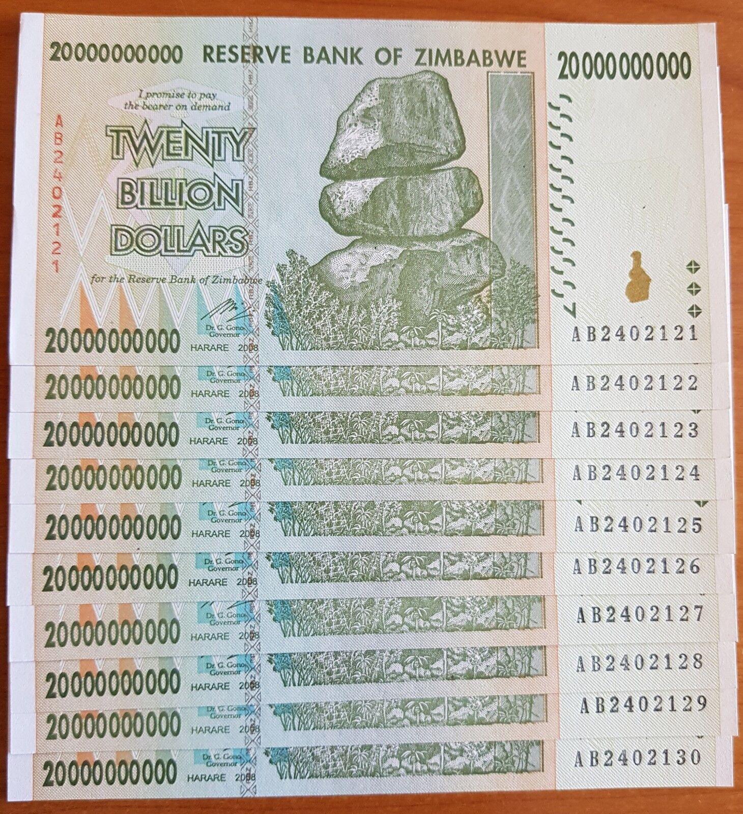 Zimbabwe 20 Billion Dollar x 5 Banknotes AA//AB 2008 aUNC Currency P86