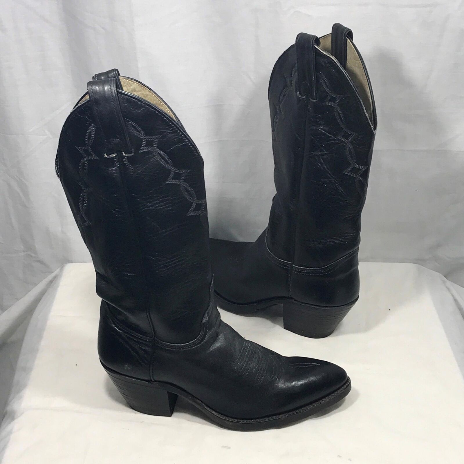 Black Cats Paw Pointed Toe 7D Leather Western Cowboy Boots 7D Toe ab0ccd