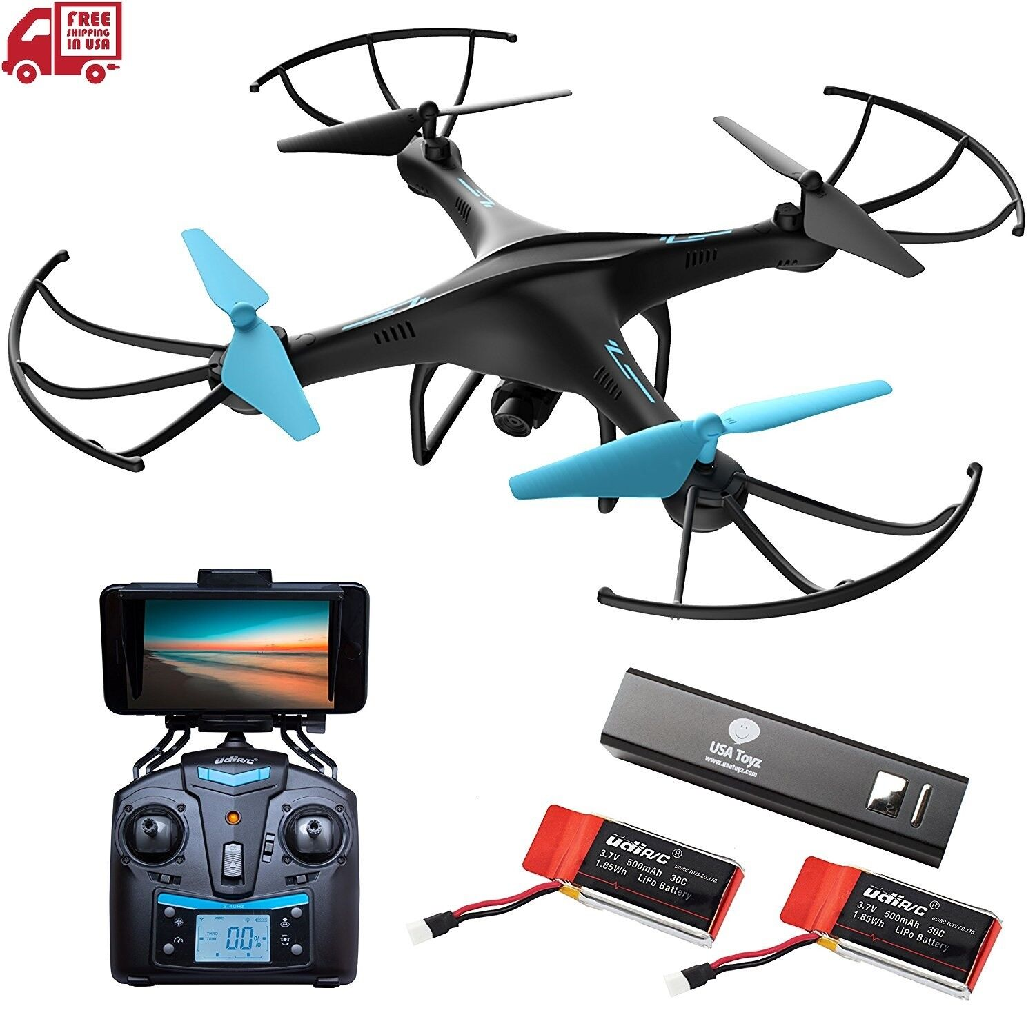 Drone with Camera Live Video Upgraded U45W-A Quadcopter w  WiFi FPV VR Remote