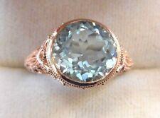 10k Rose Gold 3.37CT Bezel Set Round Faceted Cut Blue Aquamarine Filigree Ring