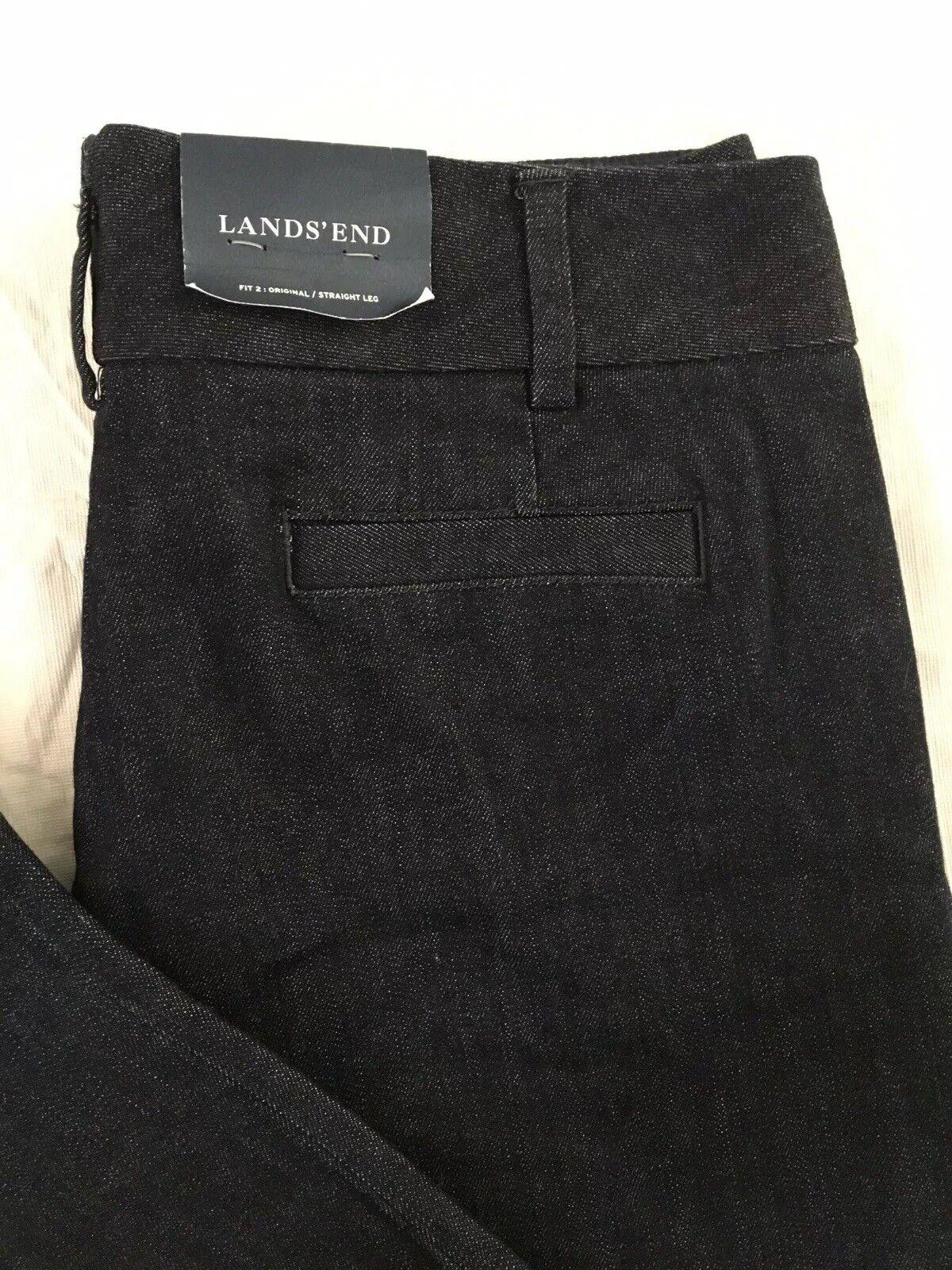 Lands End Denim Trouser Pants Size 12 Rinse Wash Original Striaght Fit NWT