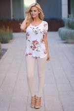 Women Short Sleeve Flower Cross V Neck Ladies Casual Loose Tops T Shirt Blouse