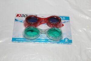 Dolfino-Child-Swim-Goggles-Pack-2-Red-Green-Tinted-Lenses-Impact-Resistant